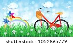 spring landscape with bike and... | Shutterstock .eps vector #1052865779