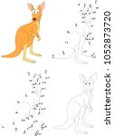 funny cartoon kangaroo.... | Shutterstock .eps vector #1052873720