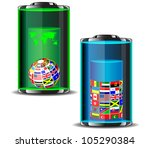 flags of the world in batteries.... | Shutterstock .eps vector #105290384