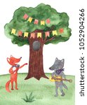 Watercolor Illustration Of Fox...