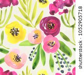 seamless watercolor floral... | Shutterstock . vector #1052905718