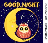 good night. postcard with a... | Shutterstock . vector #1052908040