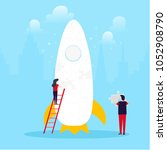 people launching start up ... | Shutterstock .eps vector #1052908790