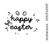 happy easter text | Shutterstock .eps vector #1052910359