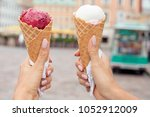 two colorful tasty ice cream... | Shutterstock . vector #1052912009