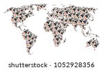 earth map mosaic made of space... | Shutterstock . vector #1052928356