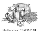 graphic barrel of beer... | Shutterstock .eps vector #1052952143