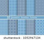 set of seamless line patterns.... | Shutterstock .eps vector #1052967134