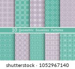 set of seamless line patterns.... | Shutterstock .eps vector #1052967140