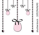 hanging easter pink eggs with... | Shutterstock .eps vector #1052969690