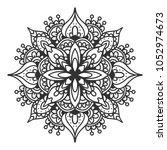 mandala. black and white... | Shutterstock .eps vector #1052974673