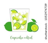 caipirinha cocktail. paper art... | Shutterstock .eps vector #1052974739