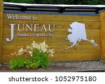 Welcome to Juneau! The greeting in  Juneau port. Alaska.