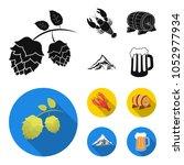 alps  a barrel of beer  lobster ...   Shutterstock .eps vector #1052977934