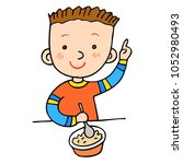 clever boy. healthy food. lunch.... | Shutterstock .eps vector #1052980493
