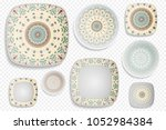 plate ornament  top view. home... | Shutterstock .eps vector #1052984384