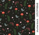 floral seamless pattern with... | Shutterstock .eps vector #1052998868