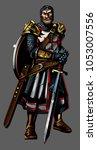 strong medieval knight crusader ... | Shutterstock .eps vector #1053007556