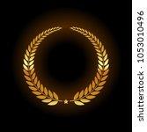 blank golden emblem | Shutterstock .eps vector #1053010496