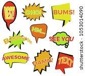 set of nine cartoon comic... | Shutterstock . vector #1053014090