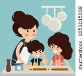 mother and daughter rolling out ... | Shutterstock .eps vector #1053015038