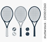 tennis racket and ball  gear... | Shutterstock .eps vector #1053015263
