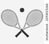 tennis racket and ball  gear... | Shutterstock .eps vector #1053015266
