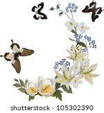 illustration with white lily... | Shutterstock . vector #105302390