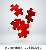 3d puzzles falling to the ground | Shutterstock .eps vector #105303050
