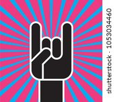 sign of the horns hand gesture. ... | Shutterstock .eps vector #1053034460