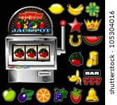 a slot fruit machine with... | Shutterstock .eps vector #105304016