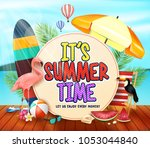 it's summer time with yellowish ... | Shutterstock .eps vector #1053044840