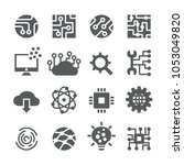 technology icon set | Shutterstock .eps vector #1053049820