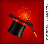 realistic vector magic hat with ... | Shutterstock .eps vector #1053057950