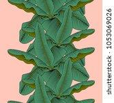 exotic banana leaf on a light... | Shutterstock .eps vector #1053069026
