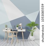 modern interior room with chair ...   Shutterstock . vector #1053085559