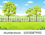 summer landscape with trees ... | Shutterstock .eps vector #1053087950