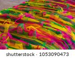 rainbow colored buddhist scarf... | Shutterstock . vector #1053090473