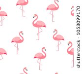 flamingo seamless pattern.... | Shutterstock .eps vector #1053099170