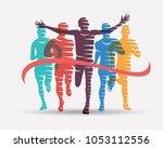 running athletes symbol  sport... | Shutterstock .eps vector #1053112556
