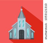 western church icon. flat... | Shutterstock .eps vector #1053121310
