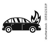 burning car icon. simple... | Shutterstock .eps vector #1053121319