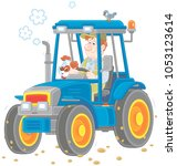 smiling worker driving his... | Shutterstock .eps vector #1053123614