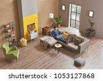 man is in the modern living... | Shutterstock . vector #1053127868