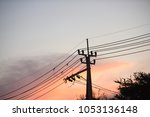 hight voltage electric towers... | Shutterstock . vector #1053136148