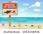 beware of shark sign on sea...   Shutterstock .eps vector #1053146936