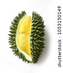 fresh cut durian on a white... | Shutterstock . vector #1053150149