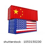 united states and china cargo... | Shutterstock . vector #1053150230