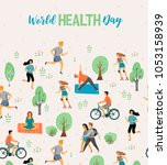 world health day. healthy... | Shutterstock .eps vector #1053158939