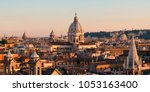 rome rooftop view with ancient... | Shutterstock . vector #1053163400